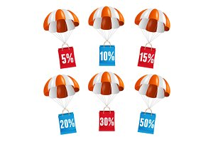 Vector parachute sale labels
