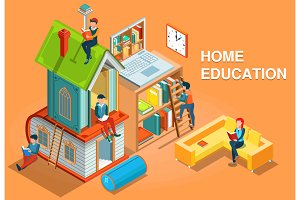 Home education isometric concept