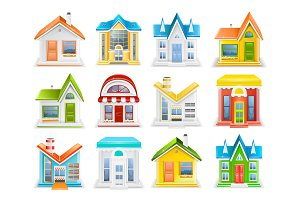 Icon set of houses and buildings