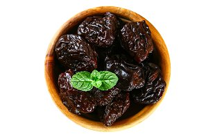 Dried prunes. Prunes isolated on whi