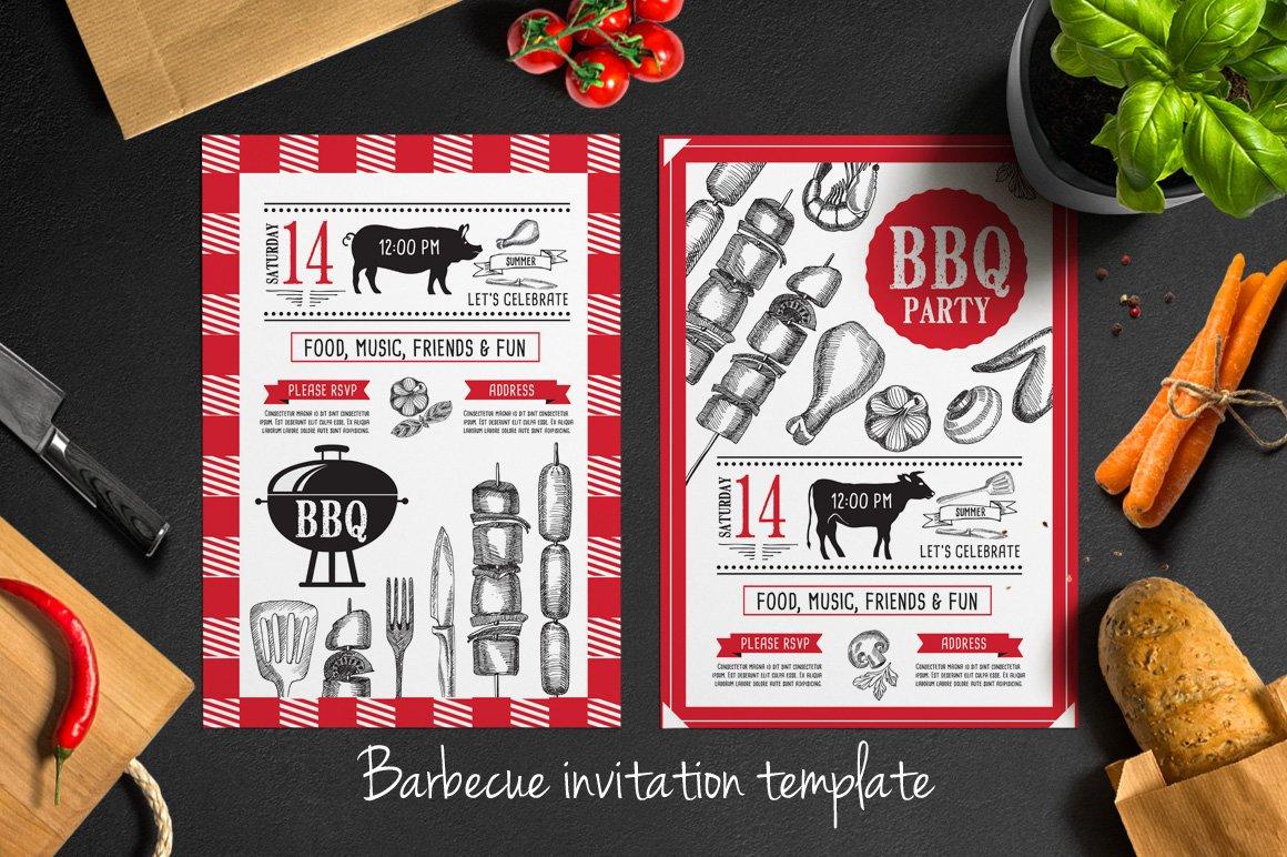 barbecue invitation template brochure templates creative market