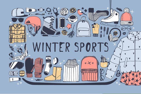 Illustrations and Illustration Products: Vera Serg - Winter Sports set + patterns + cards