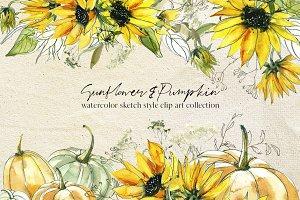 Sunflower & Pumpkin Watercolor Set