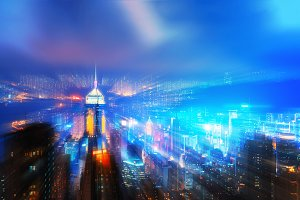 Virtual city. Zoom motion effect of