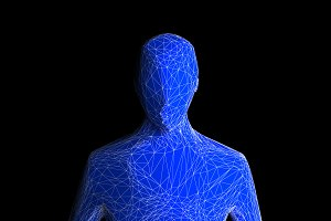 Blue human body isolated on black ba
