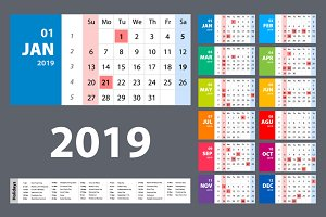 vector Calendar 2019. Colorful set.