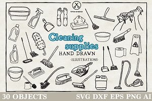 Cleaning Supplies Illustration Pack