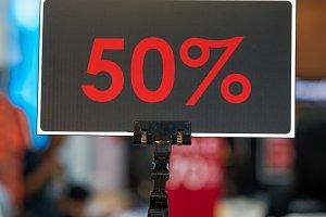 sale 50% off mock up advertise displ