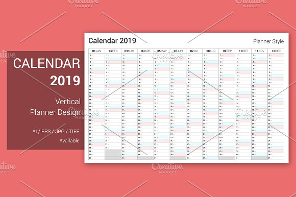 calendar 2019 planner design stationery templates creative market