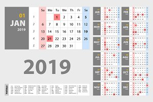 Vector of 2019 new year calendar