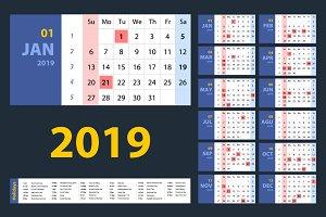 vector Calendar 2019. set.