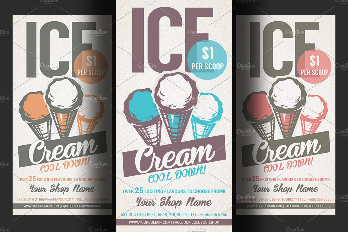 ice cream shop promotion flyer flyer templates creative market. Black Bedroom Furniture Sets. Home Design Ideas