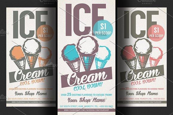 ice cream shop promotion flyer flyer templates creative market