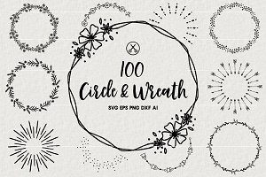 100 Wreaths and Circles SVG