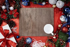 Christmas, New Year on wooden