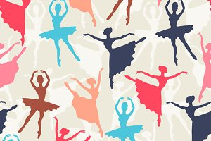 Seamless patterns of ballerinas.