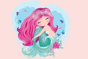 Cute mermaid girl.Cartoon character.