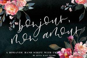 Bonjour Mon Amour Hand Lettered Font