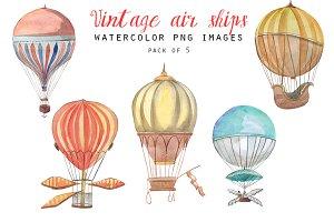 Vintage air balloons clipart