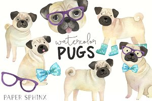 Watercolor Pugs Clipart Pack