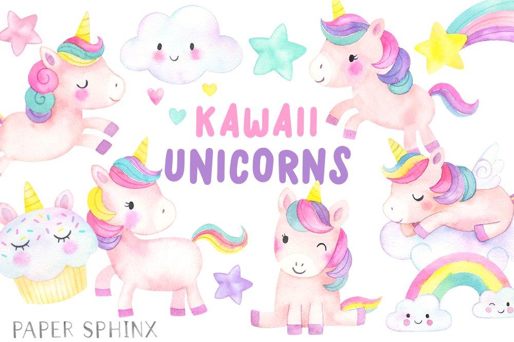 Kawaii Unicorns Clipart Pack Illustrations Creative Market