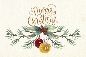 christmas cards watercolor clip art