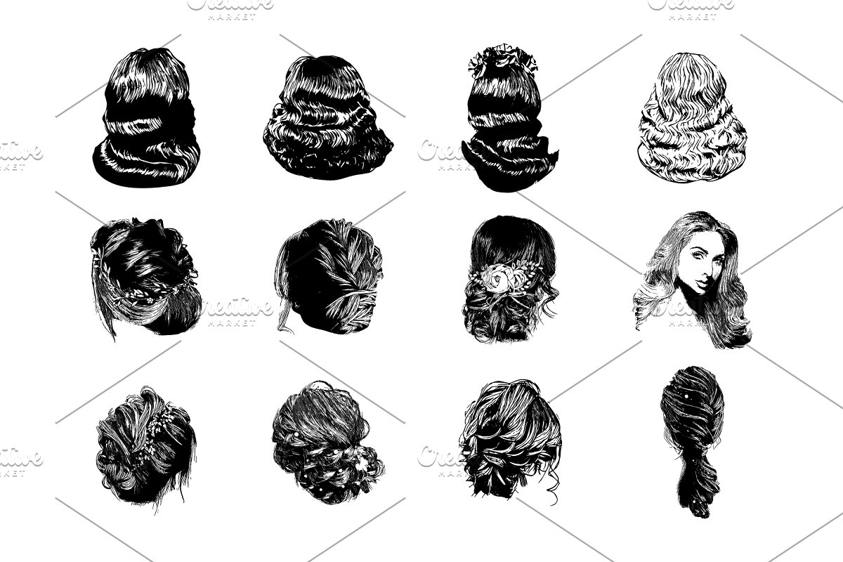 Set Of Vector Woman Hairstyles Illustrations Creative Market
