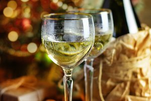 Glass of wine and Christmas tree.