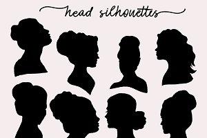 Girl Head Silhouettes