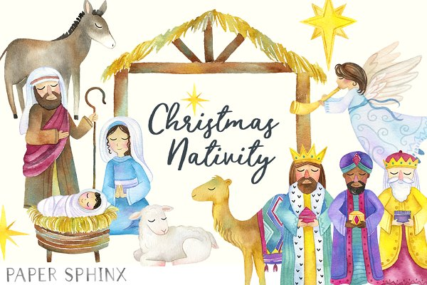 Christmas Nativity.Christmas Nativity Clipart Illustrations Creative Market