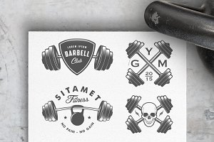 Vintage gym logos & design elements