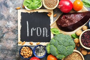 Healthy food with iron content