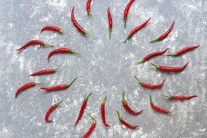Chili pepper pattern on gray