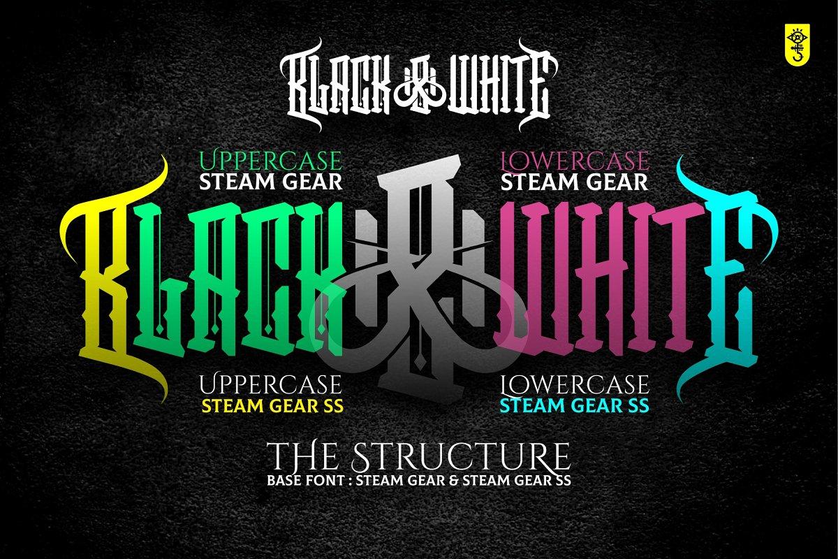 Steam Gear (Duo Font) SS ~ Blackletter Fonts ~ Creative Market
