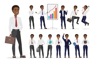 African American Businessman poses