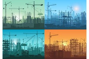Construction buildings silhouette.