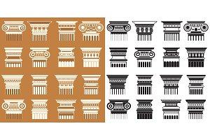 Ancient columns capitals set