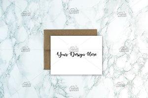 A2 Card Mockups with Kraft Envelope