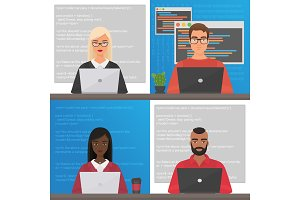Man & woman coders programmers