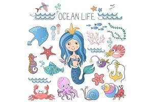 Little cute mermaid marine life