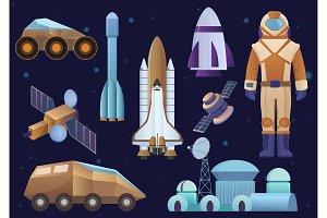 Spacecrafts, colony, cosmonaut set