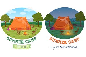Camping tent vector illustration