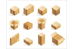 Isometric cardboard delivery boxes