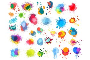 Abstract paint splashes set