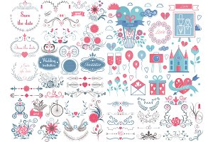 Romantic wedding graphic set