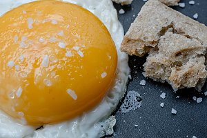 fried egg and bread close up