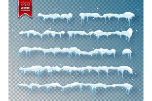 Snow, ice cap with shadow. Snowfall