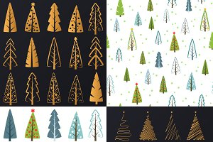 Christmas trees set and patterns