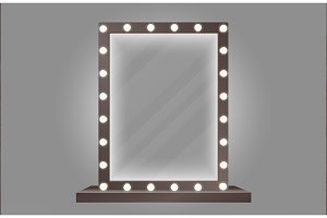 Makeup mirror with bulb lights
