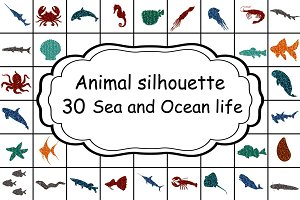 Set 30 colorful undersea animals